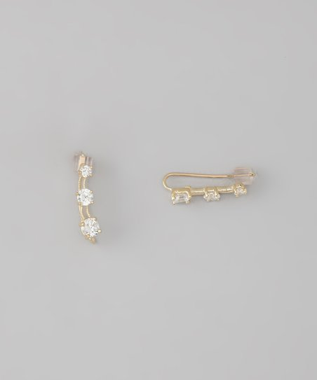 Gold Ball Ear Pin Earrings