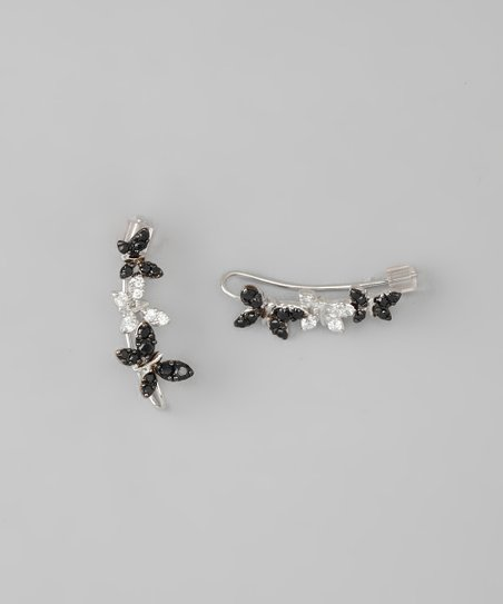 Silver & Black Butterfly Ear Pin Earrings
