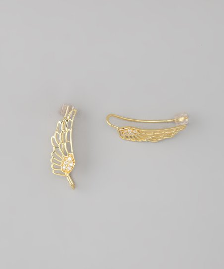 Gold Feather Ear Pin Earrings