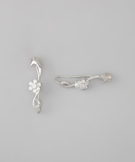 Silver Bloom Ear Pin Earrings