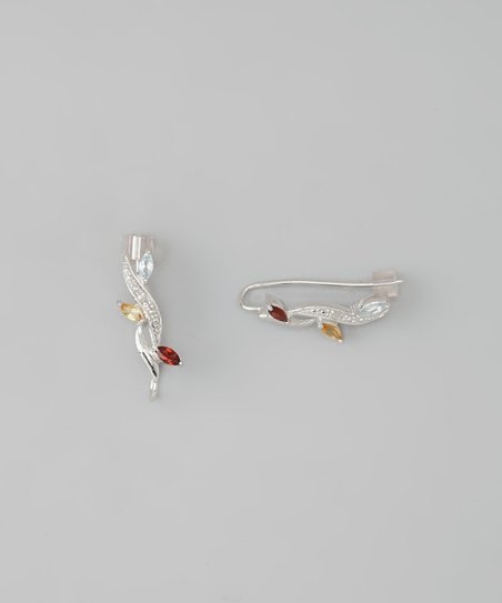 Garnet & Silver Ear Pin Earrings