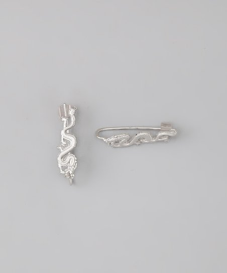 Silver Decorative Ear Pin Earrings