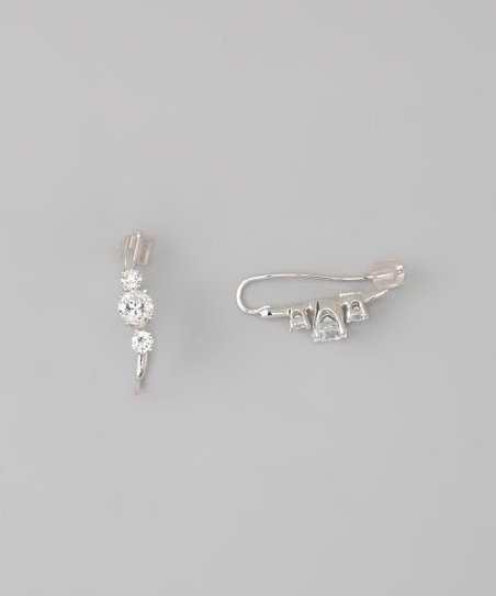 White Gold Ear Pin Earrings