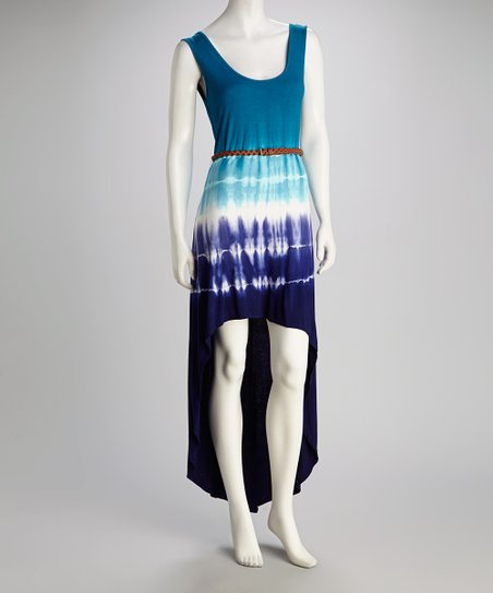 Blue Tie-Dye Belted Hi-Low Dress
