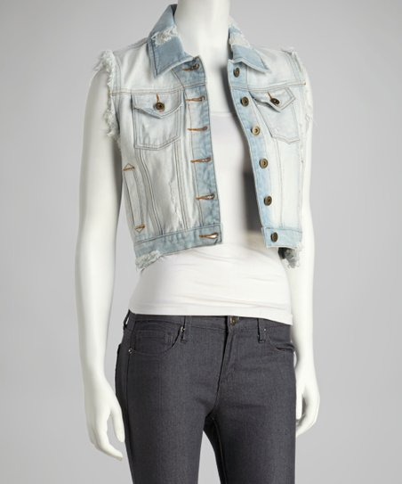 Light Blue Distressed Denim Vest
