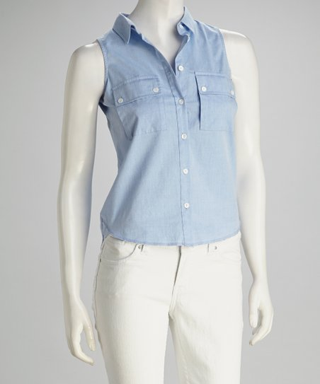 Light Blue Denim Sleeveless Button-Up