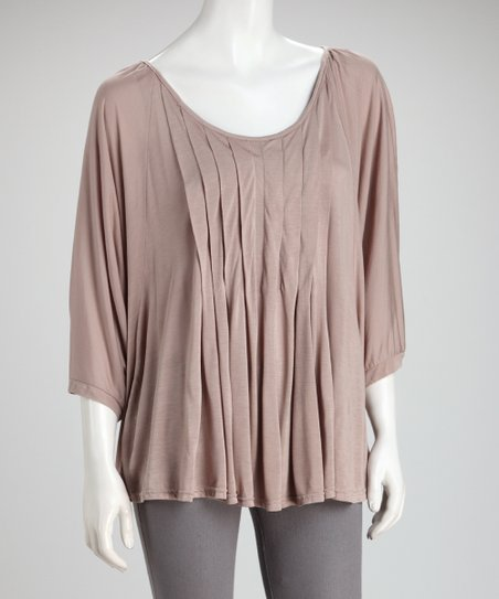 Taupe Pleated Top
