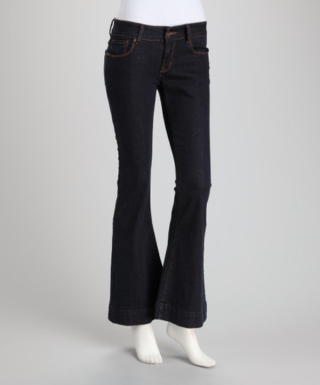 Dark Blue Denim Flare Jeans