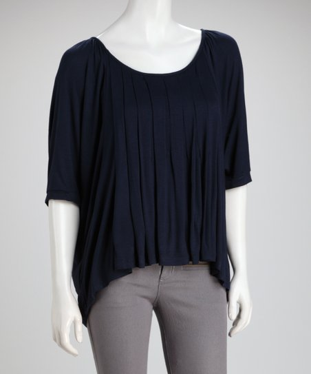 Navy Pleated Sidetail Top