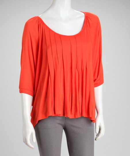 Orange Pleated Sidetail Top
