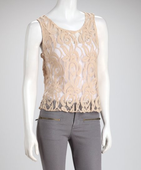 Natural Floral Crocheted Tank