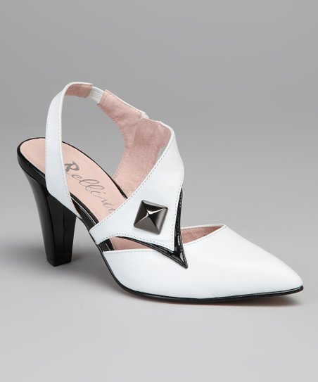 White & Black Phoenix Leather Slingback
