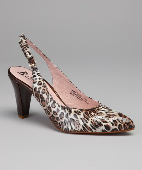 Beige & Brown Leopard Puerto Rico Leather Slingback