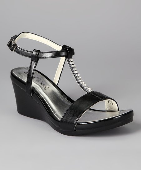 Black Temple Wedge Sandal