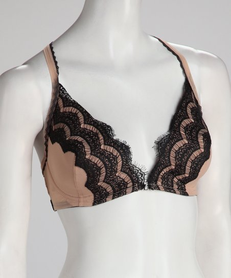 Black &amp; Nude Chanteuse Lace Front-Closure Racerback Bra - Women &amp;