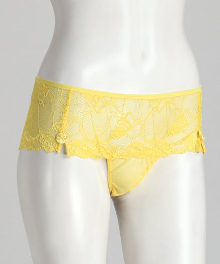 Yellow Cheeky Lace Sheer Panty