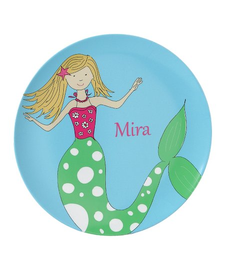 Blue Mermaid at Sea Personalized Plate