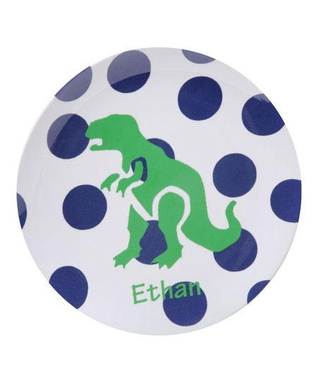 Blue Polka Dot DinoMITE Personalized Plate