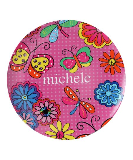 Pink Butterfly & Flower Personalized Plate