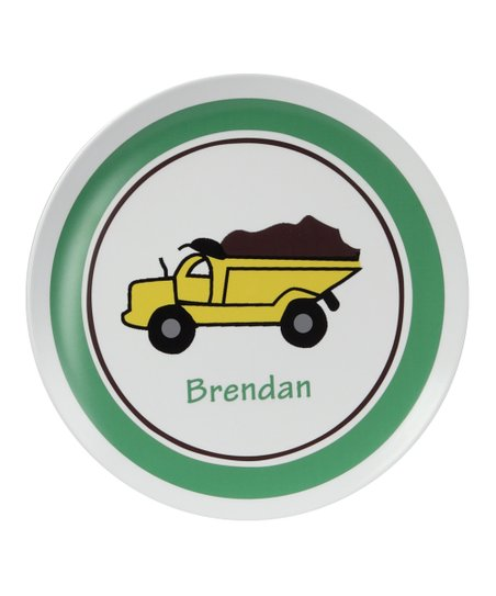 Green &amp; White Dump Truck Personalized Plate