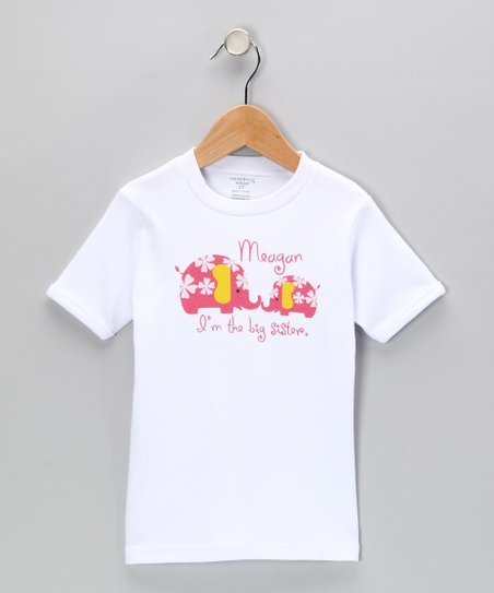 White & Pink 'Big Sister' Personalized Tee - Toddler