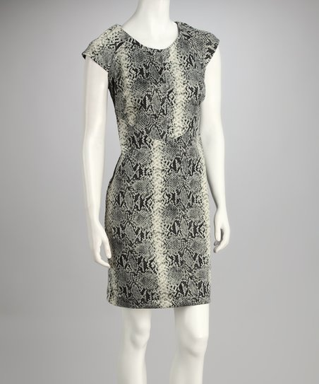 Cream &amp; Black Snakeskin Dress