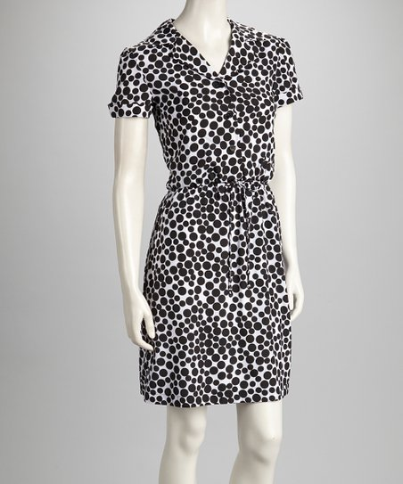 White & Black Polka Dot Tie-Waist Dress