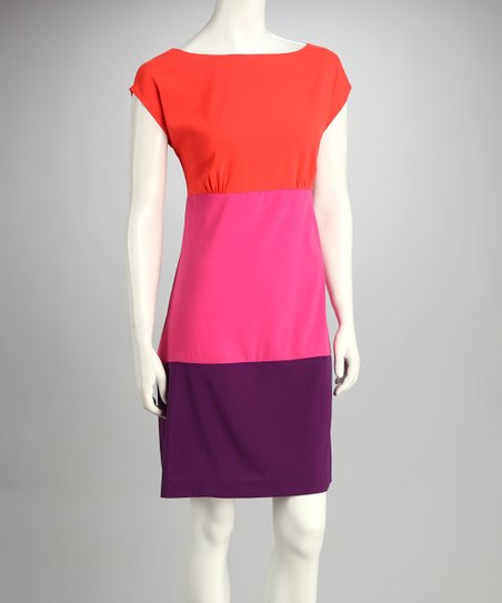 Coral Color Block Dress