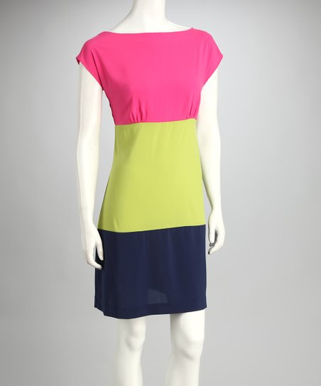 Pink Color Block Dress