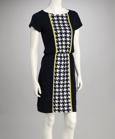 Navy Houndstooth Dress