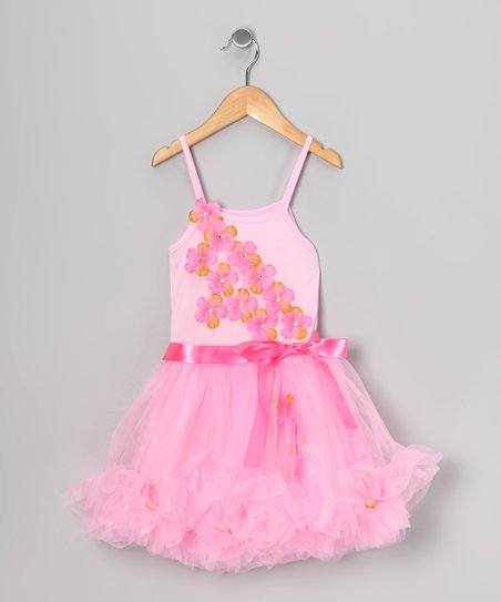 Pink Flower Ruffle Dress - Toddler & Girls