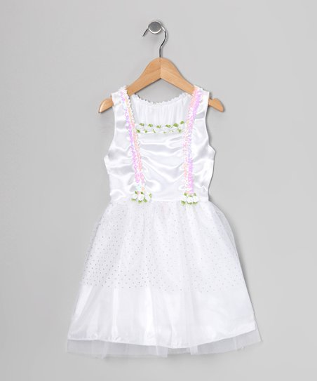 White Sequin Suspender Dress - Toddler & Girls