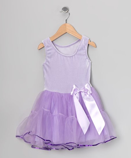 Lilac Velvet Sequin-Trim Dress - Toddler & Girls