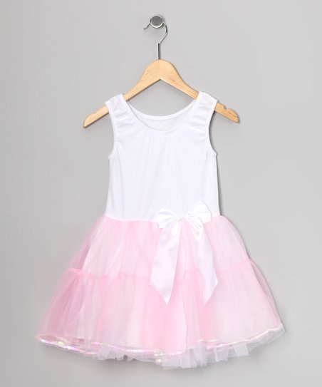 White & Pink Velvet Sequin-Trim Dress - Toddler & Girls