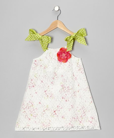White & Pink Flower Dress - Toddler & Girls