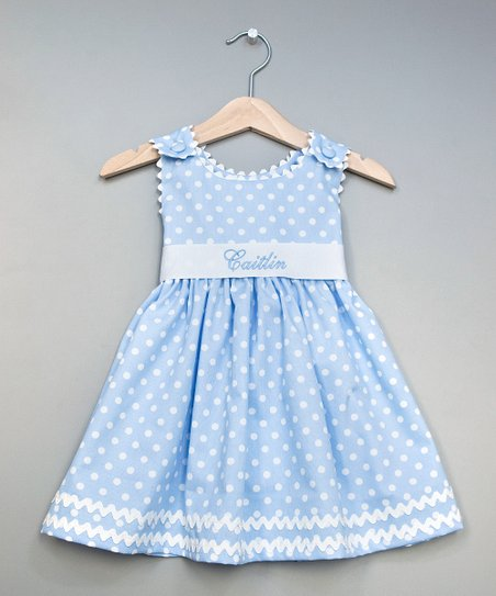 Blue Polka Dot Personalized Sash Dress - Infant, Toddler & Girls
