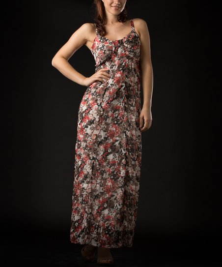 Natural & Red Floral Maxi Dress - Women