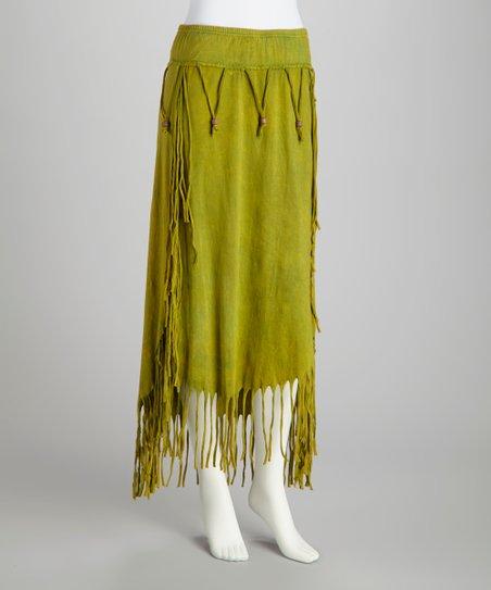 Lime Beaded Fringe Skirt - Women
