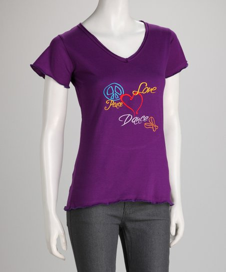 Purple Embroidered Tee