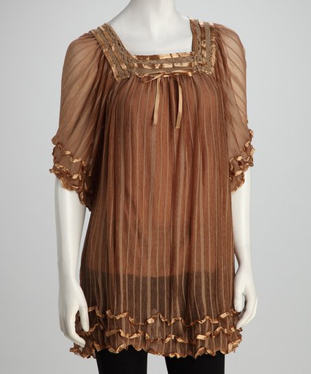 Brown Ruffles &amp; Ribbon Sheer Tunic