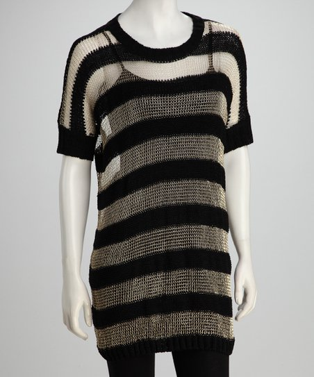 Black & Gold Striped Loose-Knit Sheer Tunic