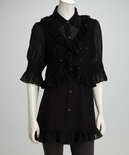 Black Sheer Layered Tunic