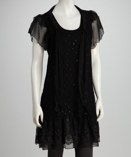 Black Ruffled Sequin Tunic