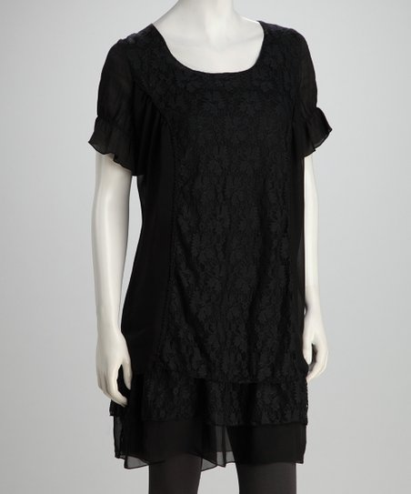 Black Lace Panel Tunic