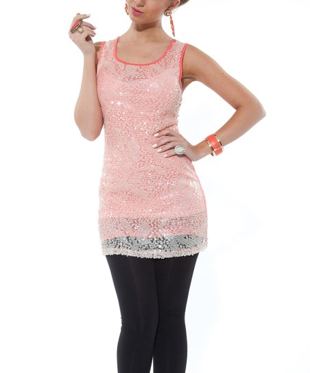Coral Embellished Sleeveless Tunic - Women & Plus