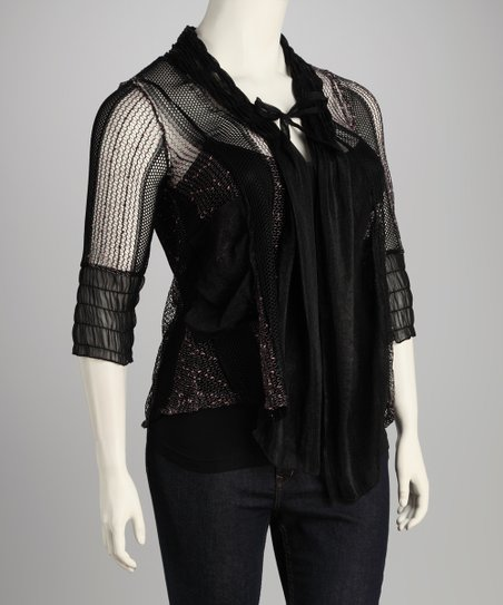 Black Mesh Cardigan - Plus