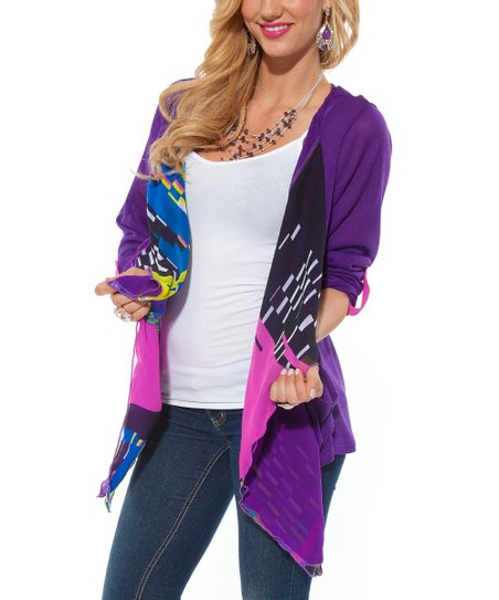 Purple Sheer Geometric Open Cardigan