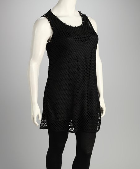 Black Mesh Sleeveless Tunic - Plus