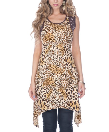 Brown Leopard Sidetail Tunic