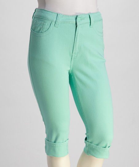 Light Teal Stretch Skinny Plus-Size Capri Pants